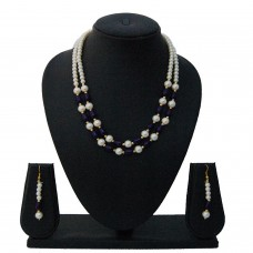 Nisa Pearls Classy Blue Pearl Bead Necklace Set For Women & Girls