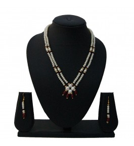 Nisa Pearls Red Beaded Necklace Set For Women & Girls