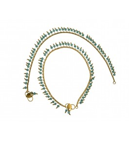Nisa Pearls Gold Plated Pair Of Anklets Adorned With Blue Color Crystals For Women & Girls