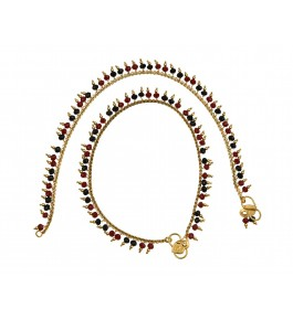 Nisa Pearls Gold Plated Pair Of Anklets Adorned With Red & Green Color Crystals For Women & Girls