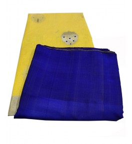 Beautiful Traditional Handloom Chanderi Saree In Yellow & Blue Color For Women