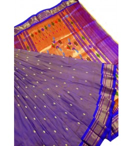 Traditional Paithani Zari Work Silk Saree with Beautiful Pallu for Women