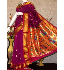 Paithani Zari Work Silk Saree with Beautiful Golden Pallu for Women