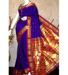 Traditional Paithani Zari Work Silk Saree with Beautiful Golden Pallu for Women