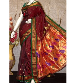 Traditional Paithani Beautiful Zari Work Silk Saree for Women
