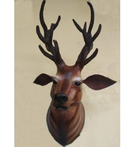 Handmade Indore Leather Toy Wall Hanging Barasingha Head