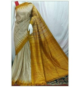 Gorgeous Pattern Weaving Gopalpur Tussar Saree for Women with Golden Aanchal