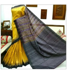 Gorgeous Pattern Weaving with Brightful Yellow Gopalpur Tussar Saree for Women