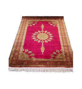 Traditional Handicraft Kashmiri Hand Knotted Beautiful Red & Golden Colour Carpet For Home Decor