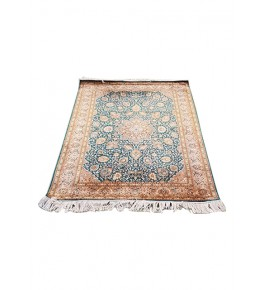 Traditional Handicraft Kashmiri Hand Knotted Beautiful Green & Golden Colour Carpet For Home Decor