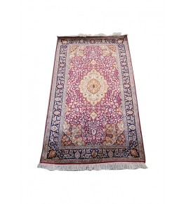 Traditional Handicraft Kashmiri Hand Knotted Beautiful Pink & Golden Colour Carpet For Home Decor