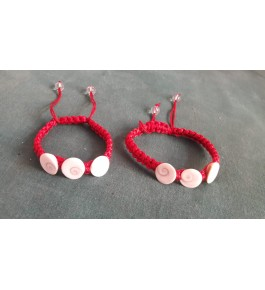 Most Pious Red Colour Band with White Gemstones Agates of Cambay Bracelet (Set of 2)