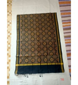 Traditional Patan Patola Single Ikkat Handloom Navy Blue & Golden Colour Silk Dupatta For Women