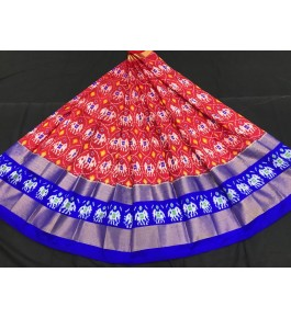 Alluring Pochampally Ikat Beautiful Red Color- Blue Border Lehanga for Women