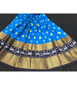 Alluring Pochampally Ikat Beautiful Blue Colour Golden Border Big Size Lehanga for Women