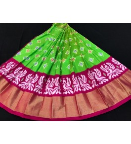 Alluring Pochampally Ikat Beautiful Light Green Colour Pink Border Big Size Lehanga for Women