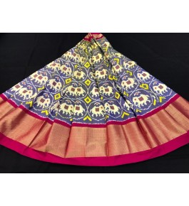 Alluring Pochampally Ikat Beautiful Violet Colour Golden Border Big Size Lehanga for Women
