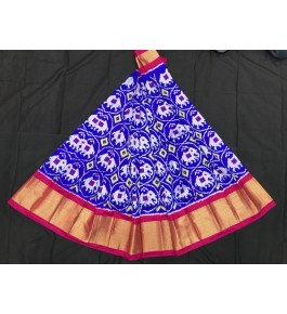Alluring Pochampally Ikat Beautiful Dark Blue Colour Red Border Big Size Lehanga for Women