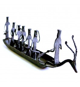 Traditional Bastar Iron Craft Beautiful Design Of Men In Boat Diya Stand For Decoration Purpose