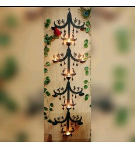 Handmade Bastar Iron Craft Beautiful Design Of Wall Hanging Diya Stand For Decoration Purpose