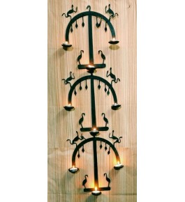 Handmade Bastar Iron Craft Beautiful Design Of Wall Hanging Diya Stand In Black Colour For Decoration Purpose