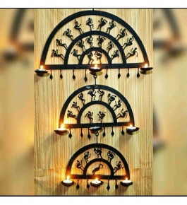 Handmade Bastar Iron Craft Beautiful Design Wall Hanging Diya Stand In Black Colour In Semi Circle Shape For Decoration Purpose