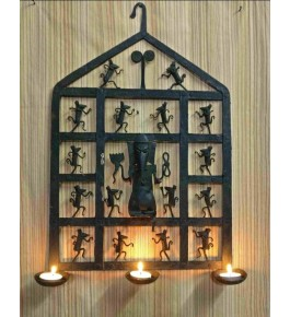Handmade Bastar Iron Craft Design Of Wall Hanging Diya Stand Of Lord Ganesh In Black Colour For Decoration Purpose
