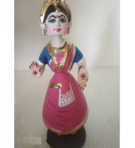 Rolly-Polly Traditional hand-made Pink Colour Dancing Thanjavur Doll (Thalaiyatti Bommai)