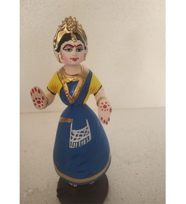 Rolly-Polly Traditional hand-made Turquoise Blue Colour Dancing Thanjavur Doll (Thalaiyatti Bommai)