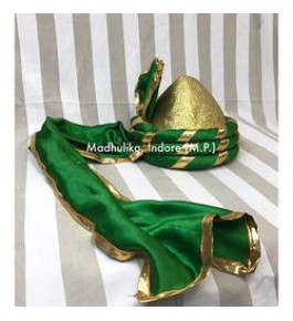 Traditional Historical Royal Puneri Pagdi Of Maharashtra For Men In Green & Golden Colour By Someswar Pagadi Makers