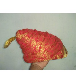 Traditional Historical Royal Puneri Pagdi Of Maharashtra For Men In Orange & Golden Colour By Someswar Pagadi Makers