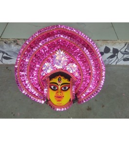 Delightful Handmade Pink Goddess Face Purulia Chau Mask For Decoration Purpose