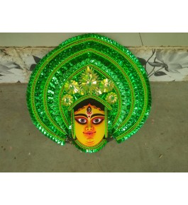Delightful Handmade Green Goddess Face Purulia Chhau Mask For Decoration Purpose