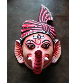 Delightful Handmade Pink Lord Ganesha Face Purulia Chau Mask For Decoration Purpose