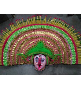 Delightful Handmade Green Colour Purulia Chhau Mask For Decoration Purpose