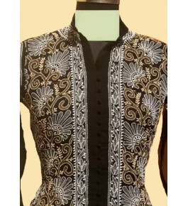 Lucknow Chikan Craft Handmade Embroidery Work Black Suit For Women