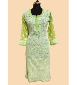 Lucknow Chikan Craft Handmade Embroidery Work Suit For Women