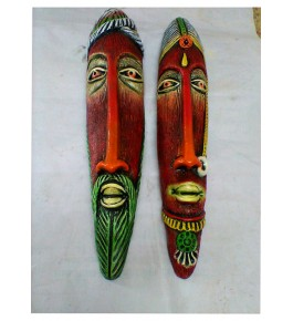 Hand-Painted Thirukannur Papier Mache Craft Red Tribal Women & Men Face Mask For Wall Decor