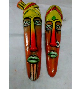Hand-Painted Papier Mache Craft Orange Farmer Face Mask For Wall Decor