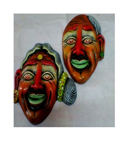Hand-Painted Handicraft Papier Mache Craft Old Men & Women Colorful Face Mask For Wall Decor