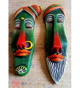 Hand-Painted Thirukannur Papier Mache Craft Green Tribal Men & Women Face Mask For Wall Decor
