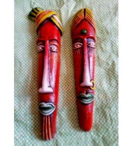 Hand-Painted Thirukannur Papier Mache Craft Red Tribal Men & Women Face Mask For Wall Decor