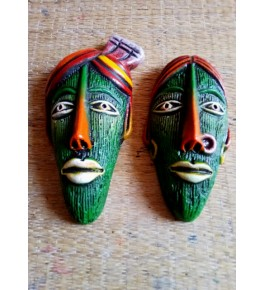 Pondicherry Hand-Painted Papier Mache Craft Tribal Farmer Face Mask For Wall Decor