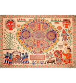 Madhubani Painting On Wall Art of Village Scene by Priti Karn