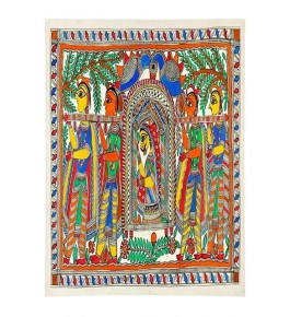 Traditional Madhubani Canvas Painting of Bride Doli with Kahar