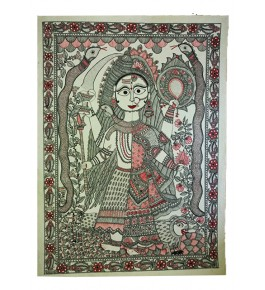 Madhubani Painting On Canvas of Ardhnarishwar By Priti Karn