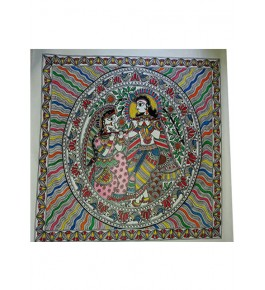 Beautiful Traditional Madhubani Canvas Painting of Radha Krishna