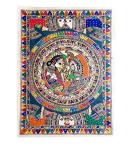 Traditional Madhubani Canvas Painting of Radha Krishna