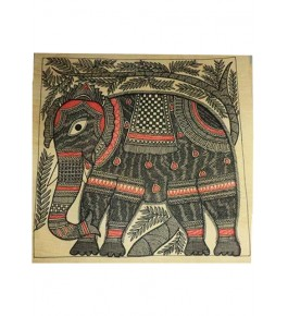 Traditional Madhubani Canvas Painting of Elephant
