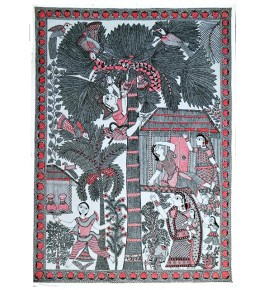 Traditional Madhubani Canvas Painting of Rural Scene